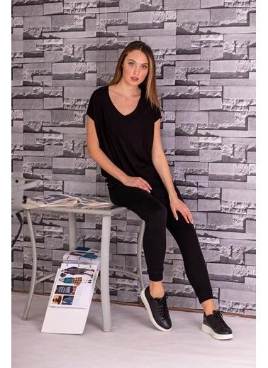 Stamina  Bayan Derin V Yaka Düşük Kısa Kol Bluz-5VS13 Siyah